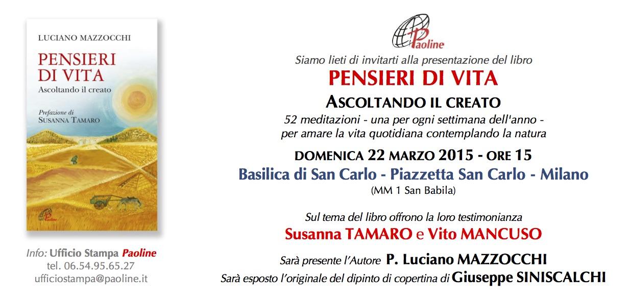 invito presentazione libro PENSIERI DI VITA - Milano 22 marzo 2015