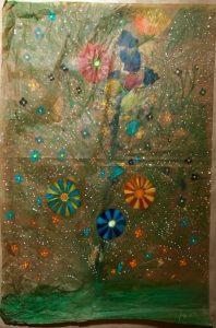 La pura libertà di Dio, la pura libertà dell'uomo - Su carta da pacco recuperata la danza dei colori (dipinto di Giuseppe Siniscalchi)